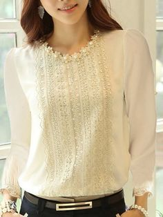 The Everyday Style: Crew Neck Beading Decorative Lace Plain Blouses Cheap Blouses, Shirt Blouses, Blouses For Women, Blouse Styles, Blouse Designs, Cheap Womens Tops, Blouse And Skirt, Mod Dress, Mode Hijab