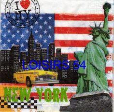 New York paper napkin 33 cm x 33 cm 3-ply for object or decoration wood picture 3D.  Serviette papier New York 33 cm x 33 cm 3 plis pour la décoration d'objet en bois ou tableau 3D.