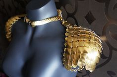 Golden scale mail spaulders shoulder armor by Silmarilclothing Valkyrie Costume, Necklace Set, Necklace Lengths, Scale Mail, Dragon Makeup, Steampunk, Pauldron, Shoulder Armor, Dragon Scale