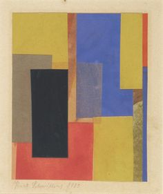 """Untitled (With Black Rectangle). 1925, Kurt Schwitters, cut-and-pasted papers on paper, 5 5/8 x 4 1/2 in., Germany. """"Schwitters... was inspired by Cubist collage and by his association with the Dada movement, with its embrace of the irrational and absurd in response to the atrocities of World War I. Schwitters's collages made after 1922 often display a rectilinear organization reflecting his ties to Russian Constructivism through his friendship with El Lissitzky."""""""
