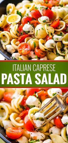 Caprese pasta salad made with tomatoes, marinated fresh mozzarella cheese, fresh basil, and a mouthwatering homemade Italian herb vinaigrette! The post Caprese pasta salad made with tomatoes, marinated … appeared first on Woman Casual - Food and drink Best Pasta Salad, Pasta Salad Italian, Warm Pasta Salad, Tomato Pasta Salad, Healthy Pasta Salad, Summer Pasta Salad, Salad Recipes For Dinner, Dinner Salads, Pasta Salad Recipes Cold
