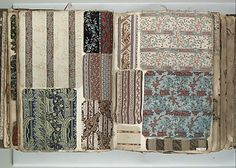 Make a miniature version for the Cabinet of Curiosities using swatches with tiny patterns (age the material) Textile Sample Book Date:    19th century Culture:    French (Lyon) Dimensions:    H. 13 1/8 x W. 9 1/2 inches 33.3 x 24.1 cm Th. 4 1/4 inches 10.8 cm