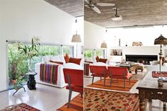 El espacio está compuesto por un sillón blanco de loneta (Casa Didot), dos sillones individuales en naranja (La Compañía), una mesa baja (Desde Asia) y una banqueta.  /Santiago Ciuffo