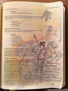 """Revelation, """"He will come on a white horse....""""  Bible journaling, illustrated faith"""