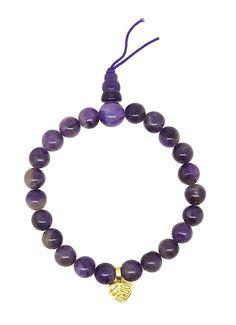 Tibetan Yoga Meditation Simulated Amethyst Charm Japa Rosary Wrist Mala Prayer Beads Bracelet ** Click image for more details.