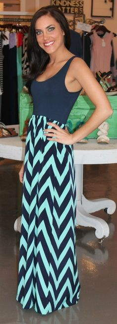 Tank Chevron Dress- Navy/Mint - Dottie Couture Boutique