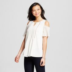 Women's Bare Shoulder Knit Blouse with Pintuck and Sheer Flutter Sleeve - August Moon : Target