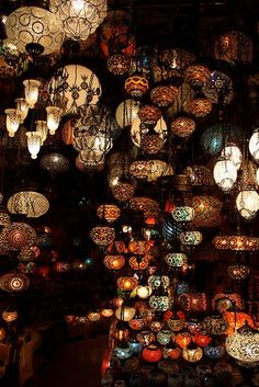 Lanterns at the Grand Bazaar in Istanbul. Lanterns at the Grand Bazaar in Istanbul. Be Light, To Infinity And Beyond, Oh The Places You'll Go, Chandeliers, Belle Photo, Decoration, Beautiful Places, Around The Worlds, Pictures