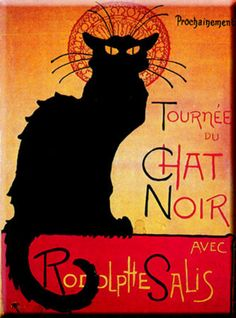 "Le chat noir.  This painting reminds me of Molly Macabre the Halloween Cat, guest soloist in Kristen Lawrence's song, ""Cats In The Catacombs""  ... BUY MUSIC:  http://www.amazon.com/Kristen-Lawrence/e/B002PA7KEC , http://www.cdbaby.com/Artist/KristenLawrence and https://itunes.apple.com/us/artist/kristen-lawrence/id289852483 ... FACEBOOK: https://www.facebook.com/HalloweenCarols ... WEB: http://kristenlawrence.com/"