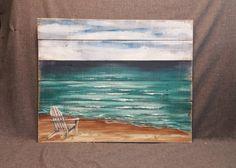 Plataforma de madera playa pared arte playa mano pintado