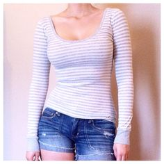 Scoop Neck Striped Long Sleeve Soft and stretchy long sleeve. Cotton/polyester mix. Very flattering. No rips. No stains. Worn 4 times. Hollister Tops Tees - Long Sleeve