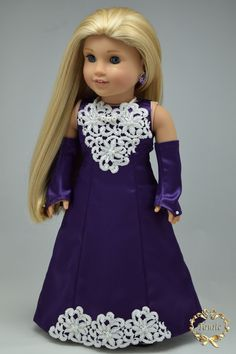 """American girl doll clothes OOAK """" Luxury Formal full length dress """" (4 pieces…"""