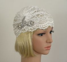 Bohemian Style Juliet Cap, White Vintage Trim, Rhinestone and Lace, Bridal Headpiece, Bohemian, Flapper, Art Deco. $75.00, via Etsy.