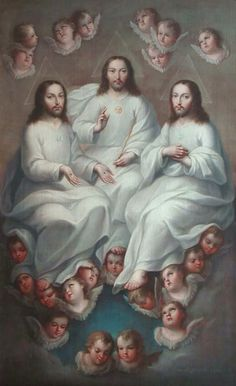 The Holy Trinity the father and son and the Holy Spirit Religious Pictures, Jesus Pictures, Religious Art, Catholic Religion, Catholic Saints, Santicima Trinidad, Sun Worship, Colonial Art, Jesus Art