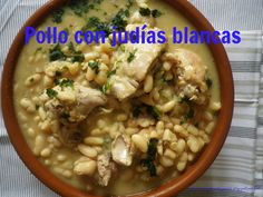 Pollo con judías Risotto, Beans, Vegetables, Ethnic Recipes, Food, Top Drawer, Chicken, Recipes, Beans Recipes