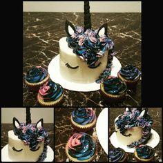 Galaxy Unicorn Cake and galaxy cupcakes.