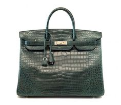 Hermes Birkin 40 Bag Vert Fonce Matte Porosus Crocodile Phw