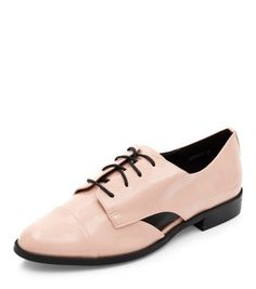 Pink Patent Cut Out Lace Up Shoes