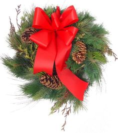 Long Needle Pine Christams wreath with pine cones and red bow Size: Christmas Tree Bows, Xmas Ornaments, Xmas Tree, Xmas Decorations, Pine Cones, Wreaths, Red, Christmas Ornaments, Christmas Ornament