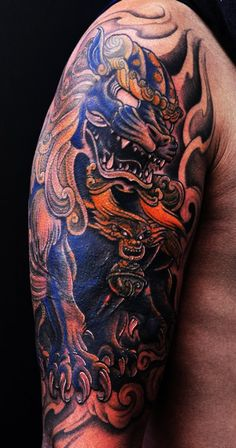 Chronic Ink tattoo, Toronto Tattoo - Foo dog half sleeve tattoo