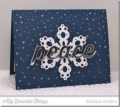 Snowfall Background, Peace Love Joy Die-namics, Pierced Snowflakes Die-namics - Barbara Anders #mftstamps