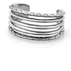 House of Harlow 1960 Etched Stack Cuff in Silver ($89) ❤ liked on Polyvore featuring jewelry, bracelets, accessories, silver, rings, silver cuff bangle, cuff bracelet, bracelet bangle, silver bracelet bangle and silver jewellery