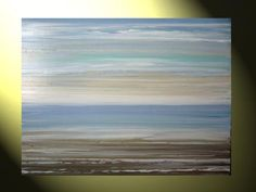 """SOLD Original Oil Painting Abstract Textured Seascape Ocean Sea 40x30"""" Pale Blue Gold Brown, Palette Knife, Made to Order by Christine - Christine Krainock Art - Contemporary Art by Christine - 1"""