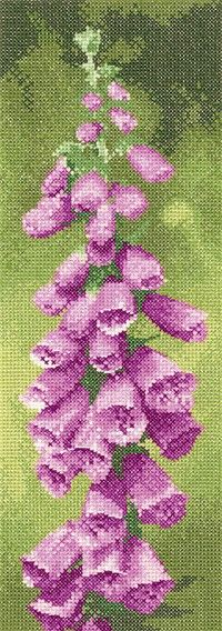 Counted cross stitch kit by Heritage Crafts from a design by John Clayton. The kit contains fabric, pre-sorrted threads, needle, chart and full instructions. - Available from Johnson Crafts http://www.johnsoncrafts.co.uk/flower-panel-foxgloves.html