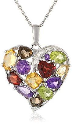 "Sterling Silver Heart Multi-Gemstones Diamond Pendant Necklace, 18"""