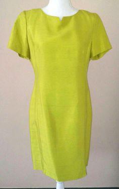 DANA BUCHMAN Dress 100% SILK Textured Chartreuse Button BACK Career Easter Sz 6 #DanaBuchman #TeaDress #CocktailFormalEasterEveningCareer