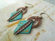 Mixed Metal earrings   Geometric Patina Brass by Gypsymoondesigns, $22.00