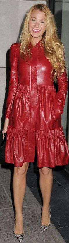 Red Valentino leather coat, spring 2012. Louboutin shoes.