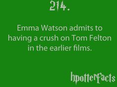 Harry Potter Facts Emma Watson admits to having a crush on Tom Felton in the earlier films. Harry Potter Fun Facts, Harry Potter Fan Art, Harry Potter Fandom, Harry Potter World, Harry Potter Memes, Epic Fail, Hogwarts, Slytherin, Draco And Hermione