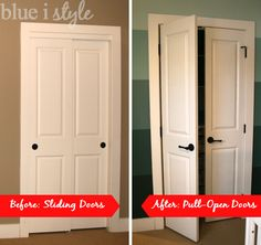 Sliding doors only let you reach half of the closet at a time! Swap them out for pull open doors to make it easier to create and organized and functional closet! Closet Bedroom, Home Bedroom, Bedrooms, Hall Closet, Home Renovation, Home Remodeling, Ikea, Sliding Closet Doors, Double Closet Doors