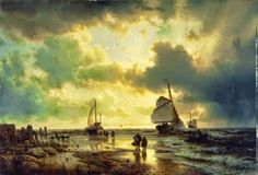Andreas Achenbach ~ The Dusseldorf School of painting Seascape Paintings, Your Paintings, Landscape Paintings, Vintage Paintings, Landscapes, Modern Canvas Art, Contemporary Wall Art, Modern Oil Painting, Museum