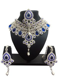 Bollywood Designer Indian Wedding Bridal Party Wear Fashion Jewelry Necklace Set - April 28 2019 at Silver Jewellery Indian, Indian Wedding Jewelry, Wedding Jewelry Sets, Jewelry Party, Silver Jewelry, Indian Bridal, Silver Earrings, Bridal Jewellery, Costume Jewelry