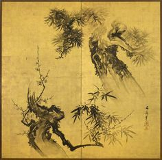 A two-fold paper screen painted in ink on a gold ground with Shochikubai (Three Friends in Winter). Japanese Painting, Chinese Painting, Chinese Art, Scenery Background, Japanese Screen, Chinese Patterns, Bonsai Art, Panel Art, Art Graphique