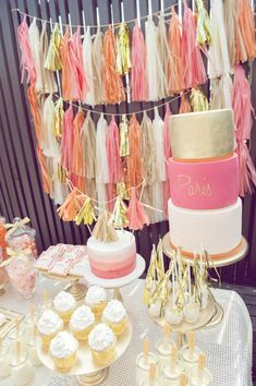 Orange, Pink and Gold 1st Birthday Party ... love the layered tassel banners