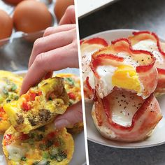 Whip up one of these healthy egg cup recipes so that you can have a healthy, high-protein snack or breakfast all week long! They're ready in under 30 minutes and easily transportable. Healthy Egg Recipes, Egg Recipes For Breakfast, Healthy Recipe Videos, Dinner Recipes For Kids, Healthy Foods To Eat, Healthy Snacks, Breakfast Bites, Paleo, Keto