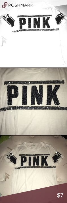 Pink bling white shirt with metallic on sleeves Pink bling shirt with metallic on sleeves; white shirt with black and grey sequins PINK Victoria's Secret Tops Tees - Short Sleeve