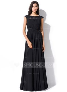 Vestidos princesa/ Formato A Decote redondo Longos De chiffon Renda Vestido de festa com Pregueado Bordado Lantejoulas (017051631)