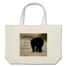 Cades Cove Black Bear canvas tote bag. $23.95