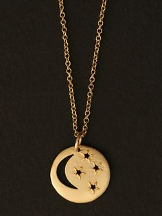 Emily and Ashley 14K Yellow Gold Small Moon and Stars Open Pendant and Chain. Available at London Jewelers!