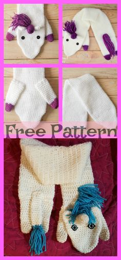 New crochet unicorn scarf free Ideas Crochet Baby Socks, Crochet Gloves, Crochet Scarves, Free Crochet, Irish Crochet, Crochet Headband Pattern, Crochet Blanket Patterns, Knitting Patterns, Crochet Unicorn
