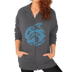 Tribal Killer Whale Tattoo in Blue Zip Hoodie (on woman) Asphalt Zacaca Shop USA