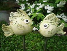 Gartenfiguren - Romantisches Fische Paar Keramik Unikat Garten - ein Designerstück von Ceratina bei DaWanda