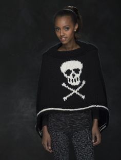 Love Halloween but not dressing up?  Try this Jolly Roger Poncho knit with Wool-Ease Thick & Quick to get you in the spirit.