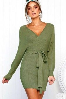 Light green V Neck Wrap Knit Long Sleeve Casual Sweater