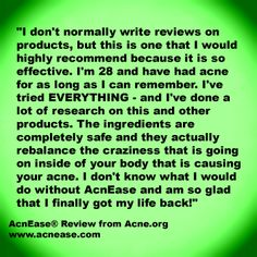 Acne.org rave review of AcnEase #acne www.acnease.com