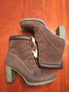 8990c96ae33 NWOB Designer TIMBERLAND WOMENS Brown Leather Lace Up 3in Heel Booties Size  9M  Timberland  Booties  Casual